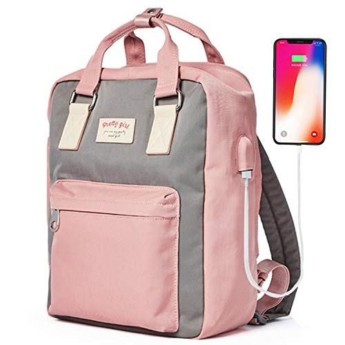 Anti- Theft Travel School Backpack, College Bookbag Multi-Function Daypack Bag for Students Women Girls with USB Charging Port Hidden Pocket