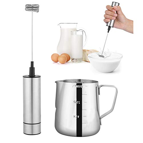 Yarlung Stainless Steel Milk Frother and 12 Oz Milk Frothing Pitcher Set, Handheld Battery Operated Foam Maker, Whisk Drink Mixer for Coffee, Latte, Cappuccino, Frappe, Matcha, Hot Chocolate