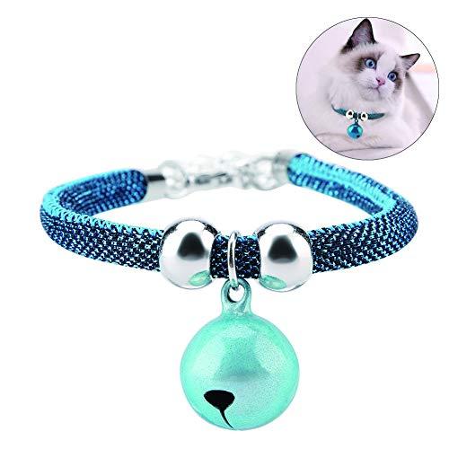 HEEPDD Mascotas de Estilo japonés Cuello de Gato Ajustable, Hecho a Mano Gatito Gatito Corbata Collar de Nylon Accesorios de Aseo Suministros para Mascotas con Cadena de extensión de Campana(Azul)