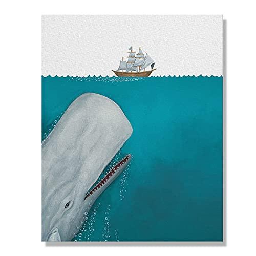 Wayfare Art White Whale Moby Dick Canvas Prints Artwork Wall Art...