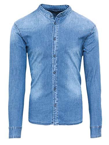 Evoga Camicia di Jeans Uomo Casual con Collo alla Coreana Slim Fit (XL, Celeste)