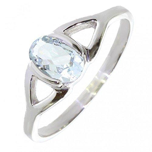 ARTIPOL Ring mit echter Aquamarin europeische Produktion franz.Stil - Schmuck silbern-rhodiniert - Ref M-36 - größe 49 (15.6)