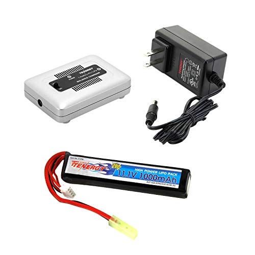 Tenergy Airsoft Battery 11.1V 1000mAh High Capacity LiPo Stick Battery Pack 20C Hobby Battery Pack for Airsoft AEGs w/Mini Tamiya Connector + LiPo/Life Balance Charger 1-4 Cells