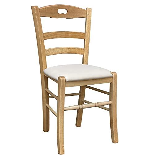Sedia legno naturale loris con seduta imbottita similpelle beige