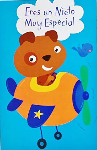 Eres Un Nieto Muy Especial - Feliz Cumpleanos Happy Birthday Greeting Card with Dinosaur in Spanish Espanol for Grandchild