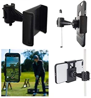 FRD Golf Phone Holder Clip, Cell Phone Swing Recording Clip, Golf Accessories and Training Aid Works with All Kinds Smart Phone, Clips to Golf Alignment Sticks and Golf Club Shaft, Black