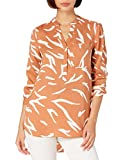 Daily Ritual Georgette Henley Tunic Shirts, Clay/White Abstract Zebra Print, L