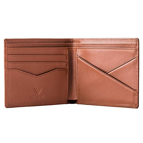 YBONNE Men's Standard Bifold Wallet with RFID Blocking, Made of Full-grain Leather