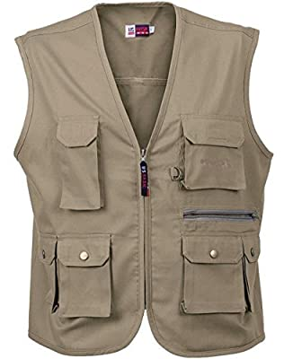 Mens Waistcoat Multi-Pocket Bodywarmer Ladies Workwear Fly Fishing Hunting Vest Kahki