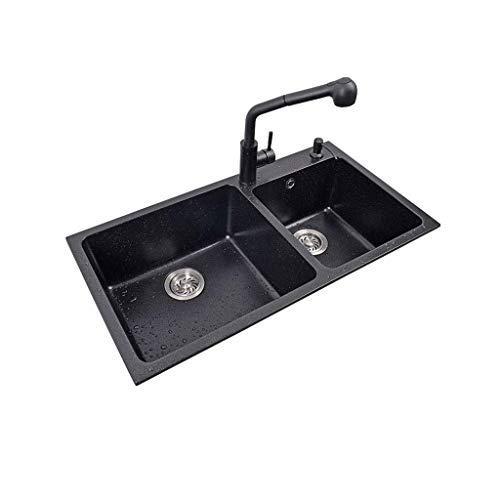 Office Life 2 miski podwójna miska zlew kuchenny umywalka z kamienia kwarcowego z syfonem kompozytowa umywalka stołowa i blatowa instalacja, zlew kuchenny