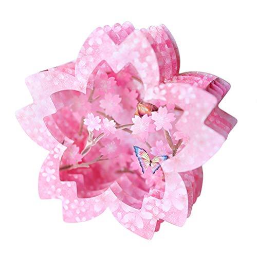 Grußkarten, Einladungsumschläge 3D Pop Up Grußkarte Romantik Karte Hochzeitstag Valentinstag Geschenkkarte mit Umschlag für Liebling, Freund Glückwünsche (Kirschblüte, Schmetterling) SPDYCESS