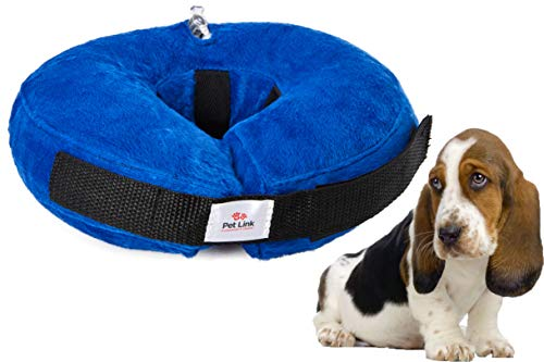 Inflatable Dog Collar, Recovery Cone, After Pet Surgery, Prevent Dogs from Biting & Scratching, Adjustable Thick Strap, Soft Comfortable Donut (Small)