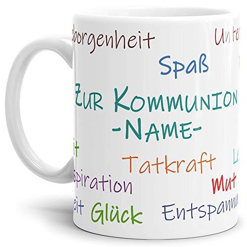 Tassendruck Geschenk-Tasse zur Kommunion Wortwolke - Personalisierbar/Erwachsen/Kind/Feier/Weiss