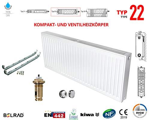 Heizkörper Mittelanschluss Kompakt & Ventilheizkörper Typ 22 600x1200 & Halter & Ventil NEU