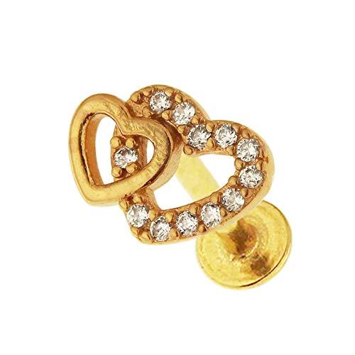 Gold eloxiert Micro Einstellung CZ Stein Twin Heart 16 Gauge Chirurgenstahl Helix Tragus Ohr Piercing Schmuck