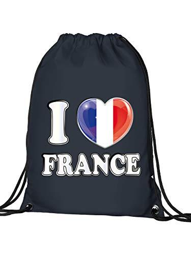 Golebros Frankreich France Fan Artikel 4779 Fuss Ball Turn Sport Beutel Unisex EM 2020 WM 2022 Trikot Look Flagge Fahne Team Kinder Kids Junge Mädchen Navy