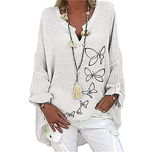 QWEWQE - Blusa de lino holgada para mujer, cuello de pico, camiseta larga, elegante, con estampado de...