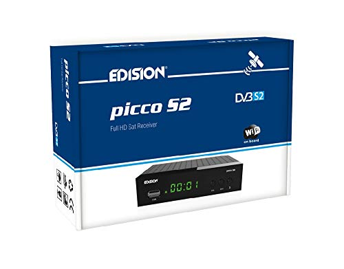 Edision Picco S2- Receptor de satélite Full HD, WiFi, HDMI, SCART, receptor de IR, Negro
