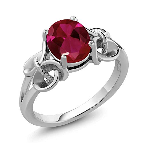 Sterling Silver Red Created Ruby Women's Ring (2.39 cttw, 9X7MM Oval),Red,Size 9