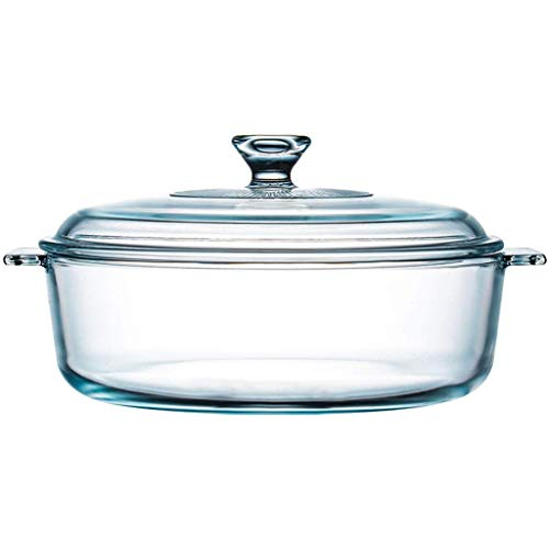 Tazón El bol de vidrio arroz al vapor Utensilios de vidrio for cocinar arroz resistente al calor recipiente for microondas Horno especial Utensilios Inicio sopa de olla con tapa, Claro, 20 * 11 cm / 7