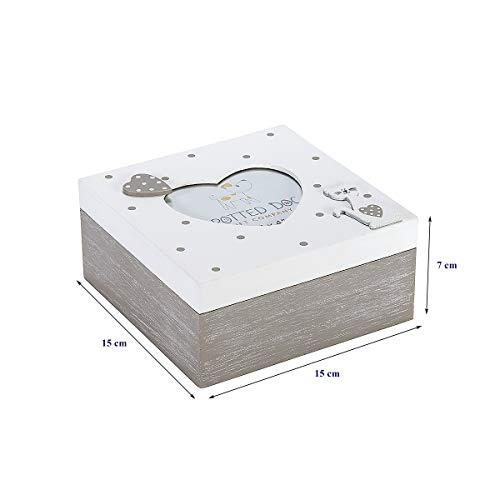 Caja de Madera con Tapa Decorada con Marco de Fotos en Forma de Corazón para Caja de Baratijas, Joyas y Recuerdos, Diseño de Gato Gris y Blanco, Regalo Originales para Mujer