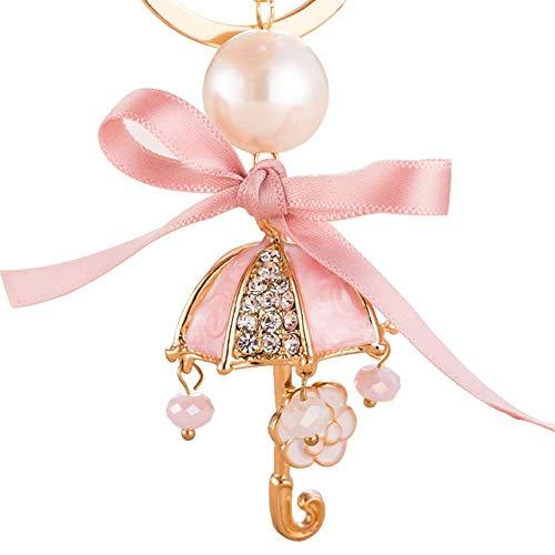 TLZR Schlüsselanhänger niedlich Regenschirm Legierung anhänger schlüsselanhänger für Frauen Tasche Handtasche Auto Dekoration Liebhaber Geburtstag Hochzeit Pink