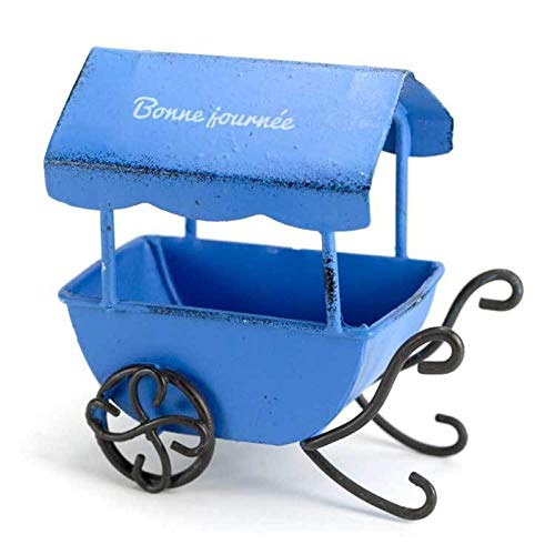 weichuang Garden Ornament Fairy Garden Miniatures Wagon with Shed Vintage Metal Craft Wheelbarrow Cart Flower Pot Miniature Garden Ornaments (Color : Blue)