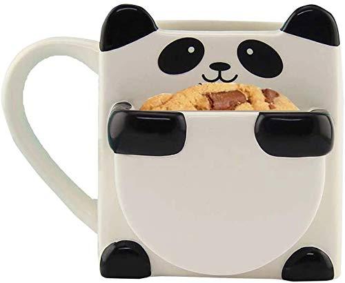 Cool Lemon Cute Ceramic Panda Hug Cookie o Biscuit Pocket Coffee Mug Tea Milk Cup Tazza per bambini Tazza Novità Migliore Regalo per Compleanno, Natale e Capodanno, Bambini, 300ml/10oz