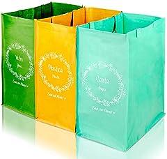 ubos De Basura De Reciclaje Contenedores De Reciclaje Cubo Reciclaje 3 Compartimentos Para Clasificar Basura Cesta Para Clasificación Selectiva de Desechos de Vidrio Plástico Y Papel