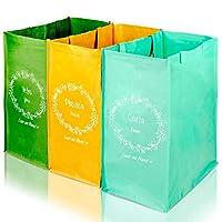 set da 3 contenitori colorati bidone spazzatura bidoni raccolta secchi pattumiera per differenziata immondizia cestino esterno interno rifiuti plastica sacchi indifferenziata sacco rettangolare slime