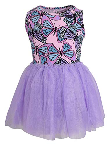 Vestido de borboleta sem mangas exclusivo para bebês e meninas com saia tutu, Roxa, 8