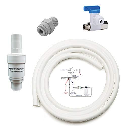 Anschluss-Set geeignet für Amway eSpring Wasserfilter zum beliebigen DREI Wege Wasserhahn. Auch geeignet für eine Zusatz EIN Weg Wasserhahn