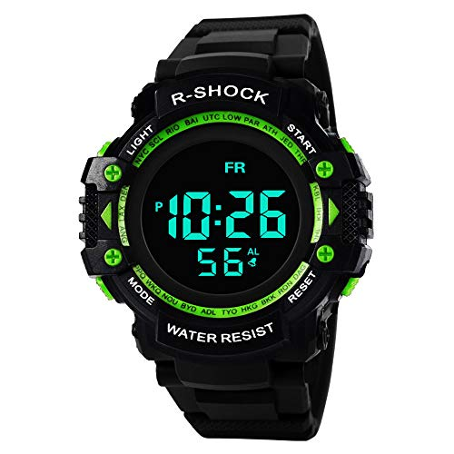 analog uhren herren Luxury Analog Digital Military Sport LED wasserdichte Armbanduhr(Green)
