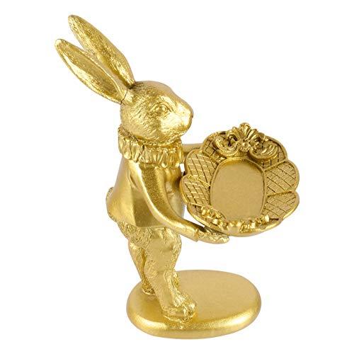 BESPORTBLE Joyas de Conejo de Resina Bandeja de Plato Escultura de Conejo Bandeja de Exhibición de Joyas Animales Organizador para Anillos de Joyas Collares Pulsera Llaves de Ganancias