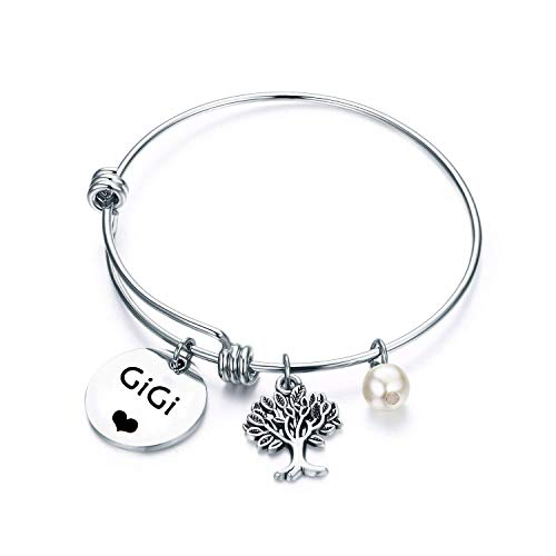 TGBJE Gigi Bracelet Hand Stamped Wire Bangle Great Grandma Gift With Family Tree (GIGI Bracelet)