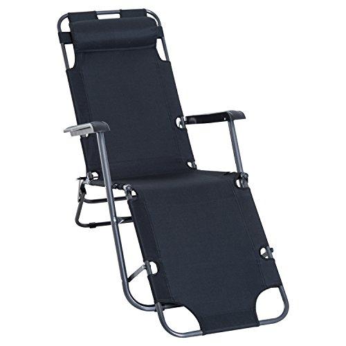 Chaise Longue Pliable Bain de Soleil transat de Relaxation Dossier inclinable avec Repose-Pied Polyester Oxford (Black)