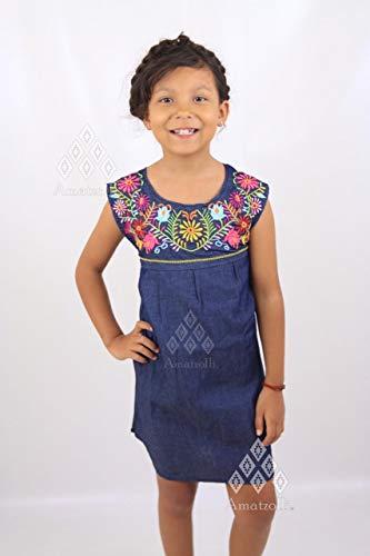 Vestido Mexicano Corto de Mezclilla para Niña Bordado Típico de Margaritas