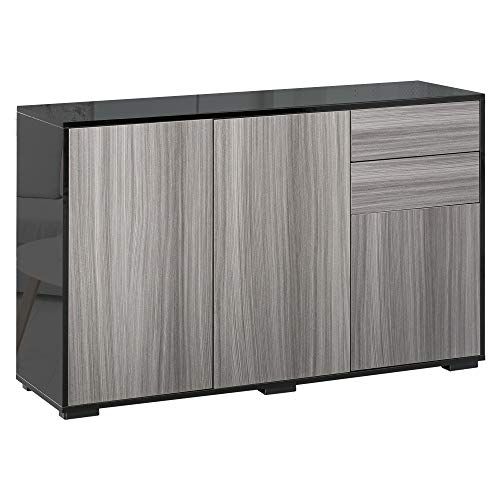 HOMCOM High Gloss Sideboard, Side Cabinet, Push-Open Design with 2 Drawer for Living Room, Bedroom, Light Grey and Black