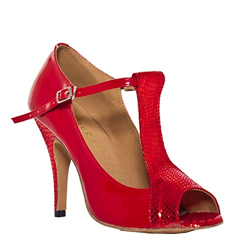 Damen High Heel Stiletto Minitoo Snake Ballroom Latein Tanzschuhe, Rot - rot - Größe: 40