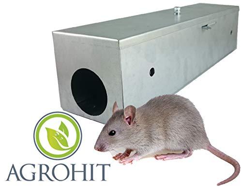 AGROHIT Ratten Köderstation Köderbox Rattenbox Rattenfalle Metall verzinkt