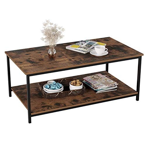 Homfa Coffee Table Industrial Side Table Living Room Table with Metal Frame for Home Office 108x52x45cm