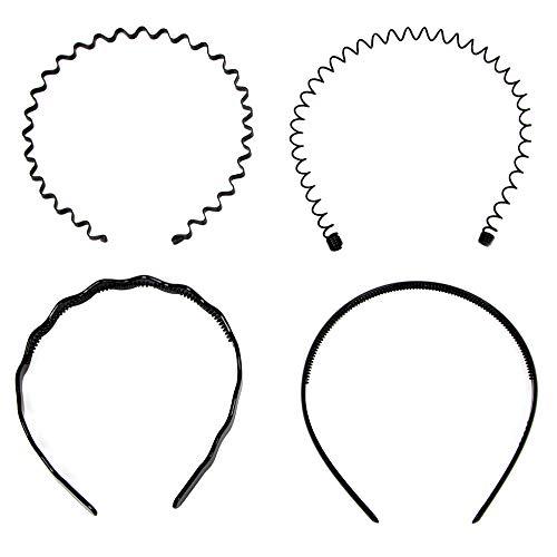 4 Stück Metall Haarband Schwarz, Speyang Welliges Stirnband Unisex, Elastische Rutschfest Haarreifen, Haarschmuck für Sports Herren Männer Damen