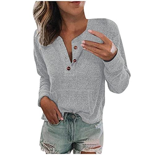 NISOWE Jersey para mujer, cuello en V, manga larga, informal, holgado, con bolsillos, cómodo y a la moda., gris, M