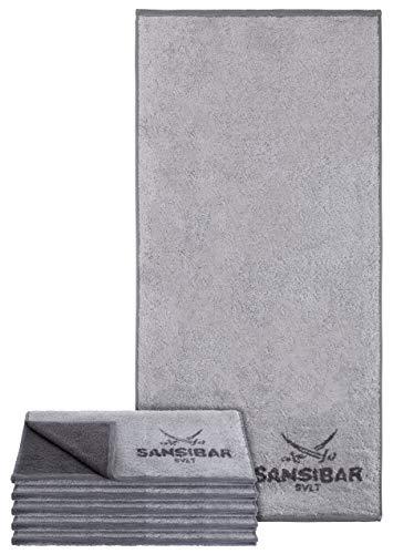 Sansibar Handtuch 6er Set Doubleface Handtuch Frottiertuch Zweifarbig 100{bb4ad7629930101a92a1184cfe292f894487c7ba66e9e739d10d5b2088e753cd} Baumwolle Silber/Anthrazit