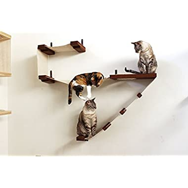CatastrophiCreations Deluxe Cat Playplace - Cat Hammock & Climbing Activity Center - Handcrafted Wall-Mounted cat Tree