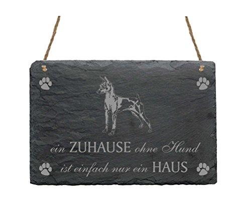 Schiefertafel ZWERGPINSCHER « EIN ZUHAUSE OHNE HUND IST EINFACH NUR EIN HAUS » mit MOTIV Slate Sign Hund Mini Pinscher