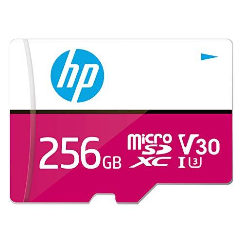 HP mxV30 - Scheda di memoria microSDXC da 256 GB + adattatore SD, velocità di lettura 100 MB/s, velocità di scrittura 85 MB/s, classe 10 UHS-I, U3, V30 per video 4K