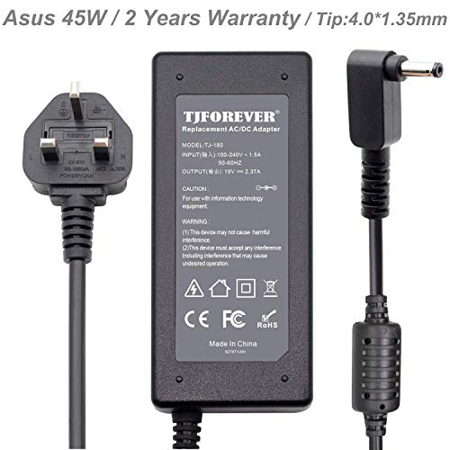 TJFOREVER 19V 2.37A 45W Laptop Charger for Asus x553m x540s x541u Zenbook ux305 ux305f ux310u ux303u Vivobook s200e Ultrabook Netbook Computer AC Adapter Power Supply Connector: 4.0 * 1.35mm