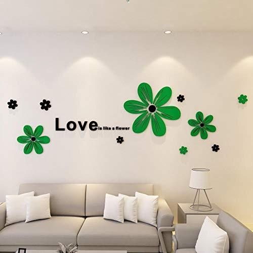Adhesivos Decoración DIY Hogar Habitación Dormitorio- Sala de estar dormitorio sofá TV fondo pegatinas de pared-Flor de verano verde oscuro_CUHK