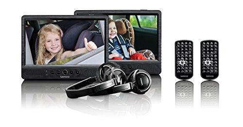 Lenco Tragbarer DVD-Player DVP-1045 Doppel DVD-Player Set - 2 x 9 Zoll Bildschirm - minimal 4 Stunden Akkulaufzeit - 2 Kopfhörer - 2 Fernbedienungen - 2 Befestigungen - Schwarz